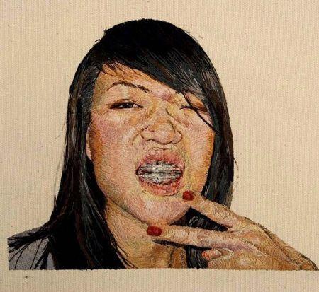 刺绣肖像画创意设计