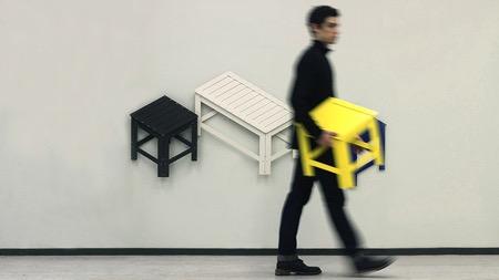 可以折叠成平面贴在墙上的板凳创意设计