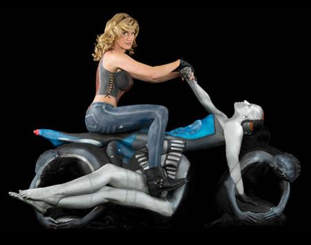 摩托人体彩绘创意设计
