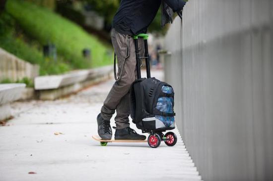 拉杆车、背包与滑板的一体化创意设计