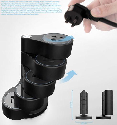 立式旋转插座创意设计