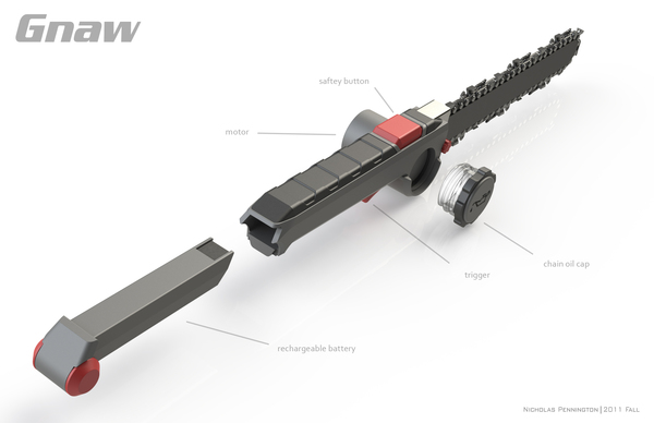 刀一样大小的轻便电锯创意设计