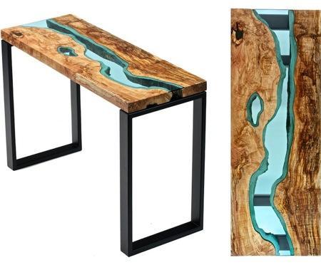 """原木玻璃""""河流""""饭桌创意设计"""