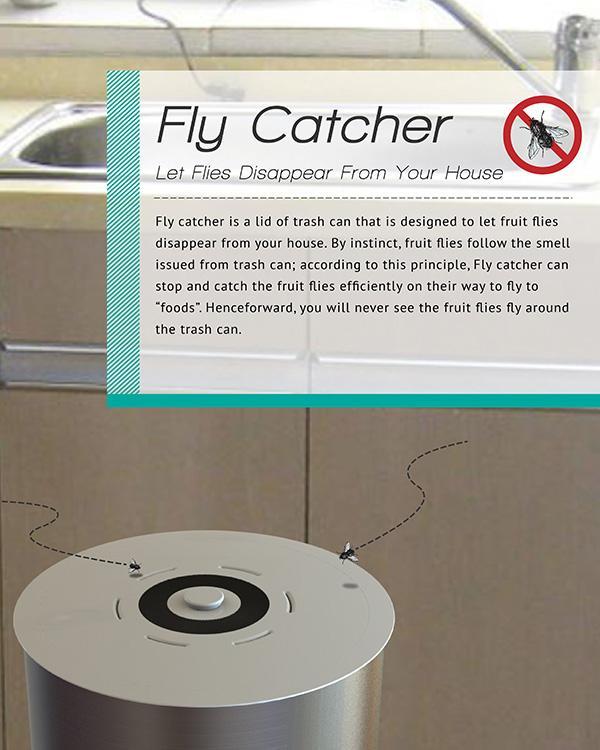 可捕捉苍蝇的垃圾桶创意设计