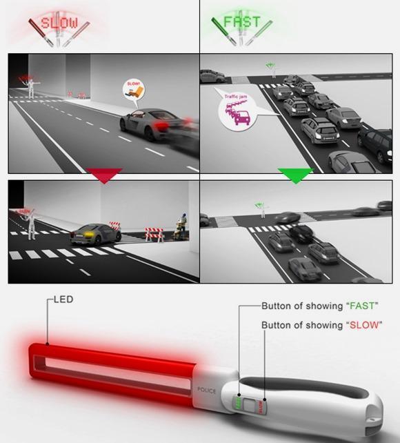显示文字的交通指挥棒创意设计