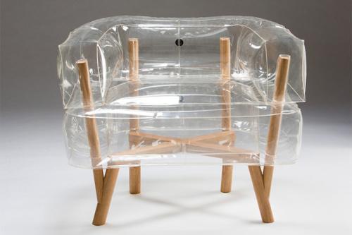 透明的实木充气小座椅创意设计