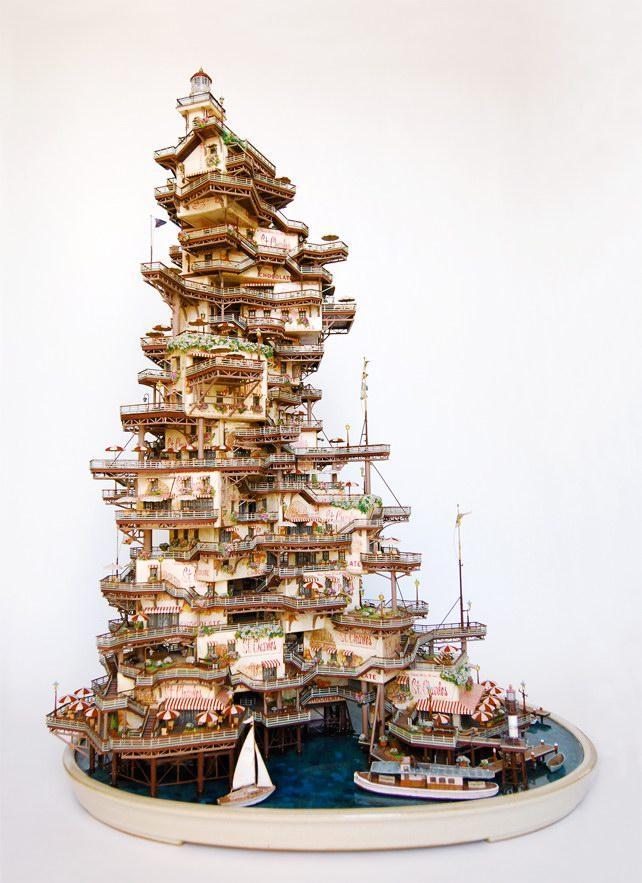 人类建筑与自然元素结合的梦幻盆景创意设计