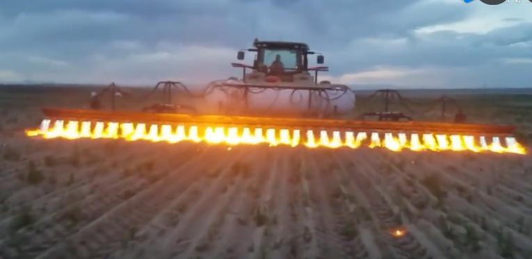 霸气的烧草车创意设计创意,一排火将杂草连根烧光