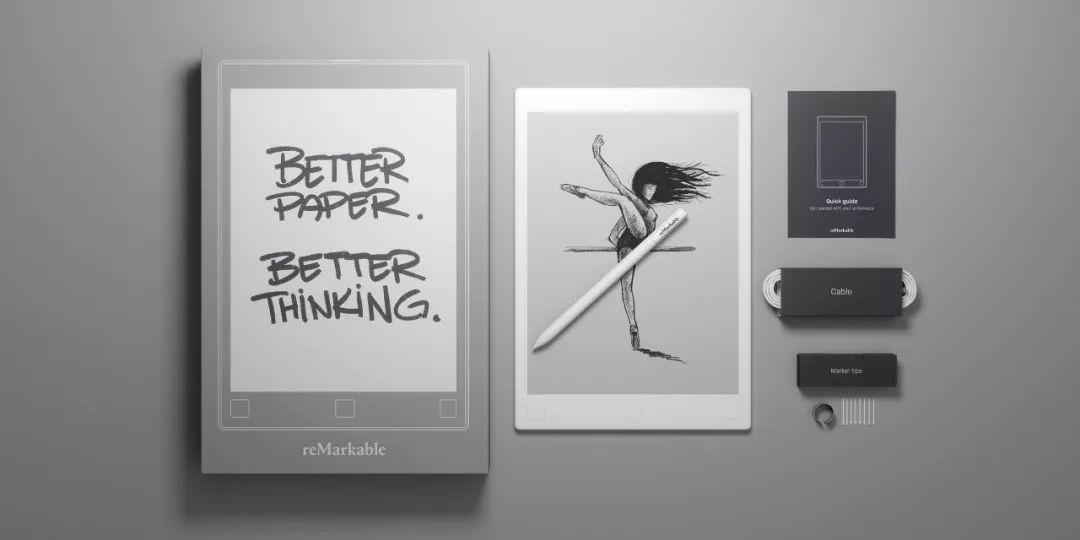 reMarkable黑白电子墨水平板创意,具备仿真书写功能创意设计