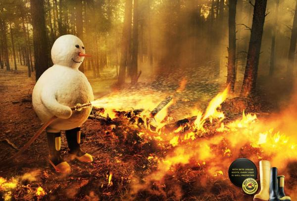 胶鞋广告创意设计:超厚、防水、耐高温
