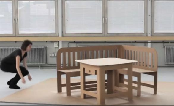 像立体贺卡一样打开的纸板家具创意设计,硬度十足