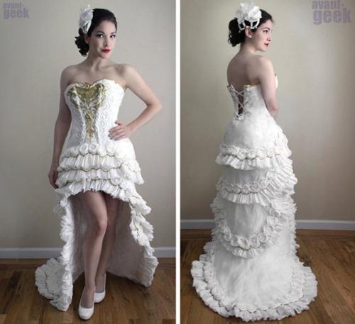 卫生纸打造的礼服创意设计