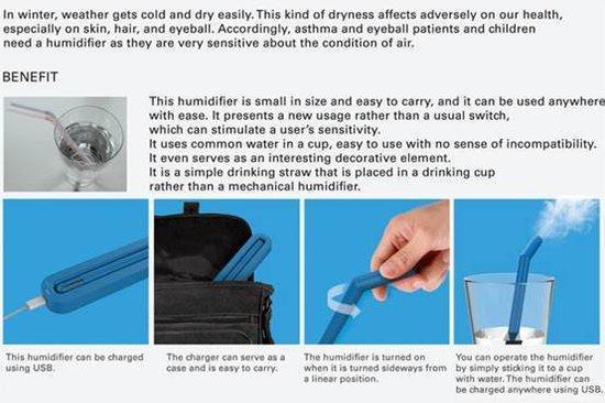 便携吸管式加湿器创意设计