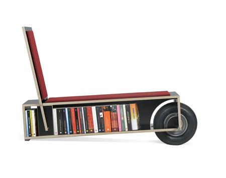 带轮子的长椅书架创意设计