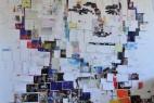 明信片拼成的名人头像创意设计