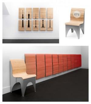 拉一下即可收纳的凳子创意设计